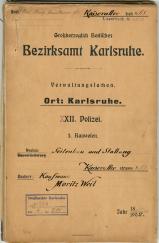 Aktendeckel (c) Stadtarchiv Karlsruhe, 1/BOA 814