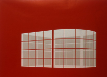"""Hansjörg Schneider """"Dapolin"""" 250 x 330 cm, Planenstoff/Intarsie, 2005"""